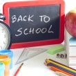 Back to school concept with inscription on blackboard — Stockfoto