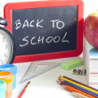 Back to school concept with inscription on blackboard — Foto de Stock