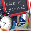 Back to school concept with inscription on blackboard — Stock Photo