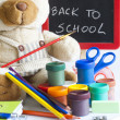 Back to school concept with inscription on blackboard — Stock Photo #28542201