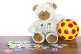 Educazione e divertimento per i bambini con il concetto di teddy bear — Foto Stock