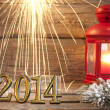Stock Photo: 2014 happy new year abstract background sign with sparklers