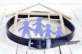 Family home and crisis with tighten the belt concept — Stock Photo