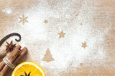 まな板の上のクリスマス抽象的な食品の背景 — ストック写真