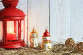 Christmas lantern abstract background on white boards — Stock Photo
