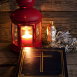 Bible and Christmas time abstract background in night — Stock Photo