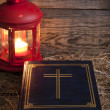 Stockfoto: Bible and Christmas time abstract background in night