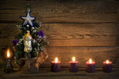 Christmas vintage tree abstract background with candles — Stock Photo