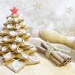 Gingerbread tree in the kitchen christmas baking concept — Stock Photo