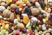Nuts and dried fruits background texture — Foto Stock