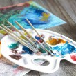 Poster paints watercolor with brushes abstract composition — Stock Photo #39891271