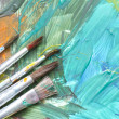 Poster paints watercolor with brushes abstract composition — Stock Photo #39892177