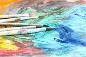 Poster paints watercolor with brushes abstract composition — Zdjęcie stockowe