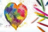 Crayon heart shape abstract handmade symbol — ストック写真