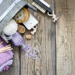 Lavender cosmetics spa body care abstract composition — Stock Photo #46594273