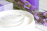 Lavender cosmetics spa body care abstract composition — Stock Photo