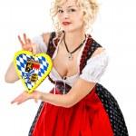 典型的なオクトーバーフェスト ドレスでドイツのバイエルン女の子 — ストック写真