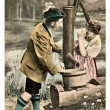 Funny flirting couple in typical bavarian tracht dress — Foto de Stock