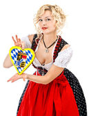 German bavarian girl in typical oktoberfest dress — Stock Photo