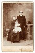 Old family photo. vintage background — Stock Photo