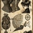 Vintage fashion accessories for lady in 1885 — Stock Photo