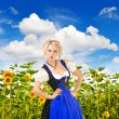 Bavarian girl in typical oktoberfest dress outdoors — Stock fotografie