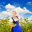 Bavarian girl in typical oktoberfest dress outdoors — Stockfoto