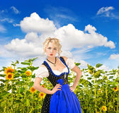 Bavarian girl in typical oktoberfest dress outdoors — Stock Photo