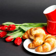 Red Cups with Croissants — Stock Photo