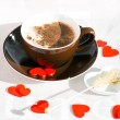 Stock Photo: Coffee. Cappuccino. Sunny morning. Red Hearts