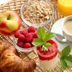 Постер, плакат: Breakfast with coffee croissants orange juice