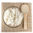 White steamed rice on bamboo background — Stock Photo