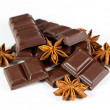 Dark chocolate and star anise — Stock Photo