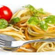 Italian spaghetti pasta with fresh basil and tomato — Stock Photo