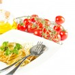 Stockfoto: Spaghetti with tomato sauce, fresh basil and grated parmesan