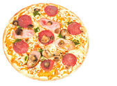 Pizza with ham, mushrooms and salami — Stok fotoğraf