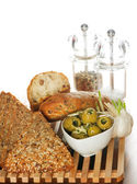 Tasty Italian artisan bread and grain bread with olives and spic — 图库照片