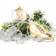Royalty-Free Stock Photo: Bag and shoe as christmas tree decoration. silver garland