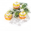 Colorful cupcake as christmas tree decoration. silver garland — Stock Photo