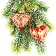 Merry christmas. red decoration on green tree. card concept — 图库照片