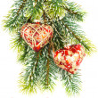Photo: Merry christmas. red decoration on green tree. card concept