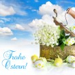 Easter decoration with eggs and lily of the valley flowers — Stock Photo #13403005