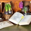 Stock Photo: Open old bible book with easter eggs and vintage objects