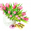 Stock Photo: Beautiful pink tulips in the vase