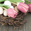 Birds eggs in nest with tulip flowers on wooden background — Stock Photo #13403886