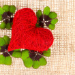 Red heart and fresh green clover leaves - Stock Photo