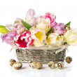 Fresh spring tulips with easter eggs decoration — Stock Photo