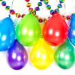 Balloons and garlands. colorful party decoration — Stock Photo