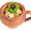 Stock Photo: Old ceramic pot with money coins and clover leaf on white background
