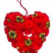 Red heart of roses and clover leaves - Stock Photo